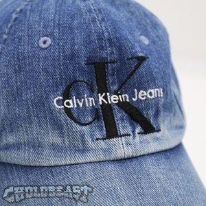 27957c9a0b5a9d Calvin Klein Accessories - Vintage 90s Calvin Klein Spell out Denim Dad Hat